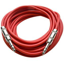 "Seismic Audio - Red 1/4"" TRS 25' Patch Cable - Balanced - Ef"