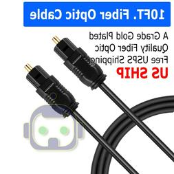 10 FT Digital Fiber Optic Audio Cable Cord Optical SPDIF Tos