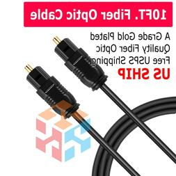 10FT Digital Fiber Optic Audio Cable Cord Optical SPDIF TosL
