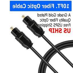 10FT Digital Fiber Optic Audio Cable Cord Optical SPDIF TosL