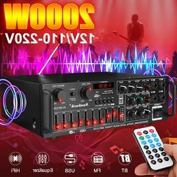 110V 2000W 2Ch bluetooth Audio Power Amplifier EQ Home Stere