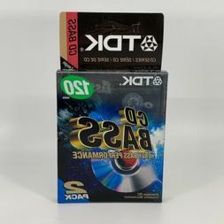 2 TDK CD Bass Audio Cassettes Heavy Bass Performance 120 min