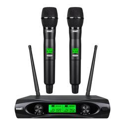 Wireless Microphone System Dynamic 2 Channel Handheld Mic Ka