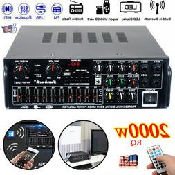 2000Watts EQ 2 Channel Bluetooth Home Stereo Power Amplifier