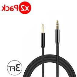 2x 3.5mm Braided Male to Male Stereo Audio AUX Cable Cord fo