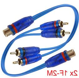 """2x 7"""" RCA Audio Jack Cable Y Adapter Splitter 1 Female to 2"""