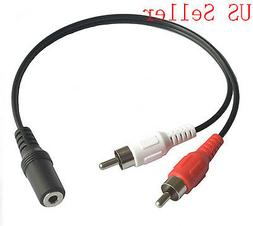"""3.5mm 1/8"""" Auxiliary Audio Female to RCA Composite Male Cabl"""