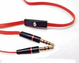 """3.5MM 1/8"""" RED AUX AUDIO CABLE CORD WITH MIC FOR MONSTER DNA"""