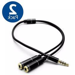 3.5mm Audio Mic Splitter Y Cable Headphone Adapter 1 Male Ja
