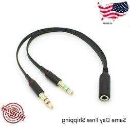 3.5mm Audio Mic Y Splitter Cable Headphone Adapter Female to