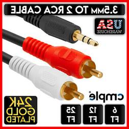 """3.5mm Audio to 2 RCA Cable 1/8"""" Stereo Male to 2-RCA Male Y"""