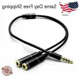 3.5mm AUX Audio Mic Splitter Cable Earphone Headphone Adapte