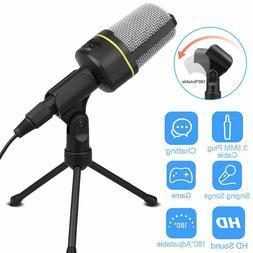 3.5mm Condenser Microphone Tripod Desktop Audio Recording Co