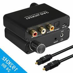 3.5mm Digital to Analog Audio Converter Adapter W/ Fiber Cab