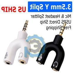 3.5mm Stereo Audio Male to 2 Female Headphone/Mic U Splitter
