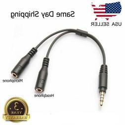 3.5mm Stereo Audio Male To 2 Female Headphone Mic Y Splitter