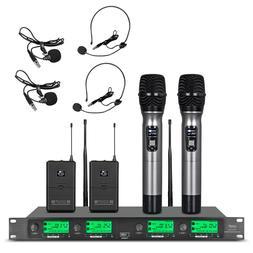 4 Channel Pro UHF Audio Wireless Microphone System 2 Handhel