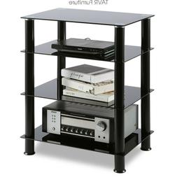 4-Tiers Media TV Stand Audio Video Tower Tempered Glass Shev