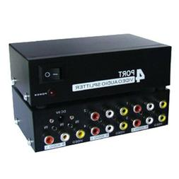 4 Way RCA Composite Audio Video AV Splitter Switch Switcher