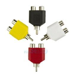 4x RCA Y Splitter AV Audio Video Plug Converter 1-Male to 2-
