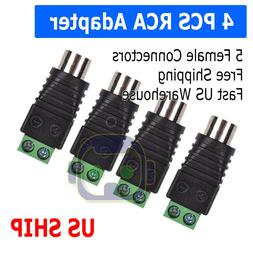 4X Speaker Wire cable to Audio Female RCA Connector Adapter