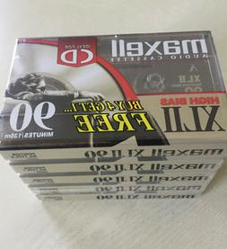 5 MAXELL XLII 90 Minute Audio Cassette Tapes SEALED New