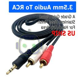 5FT 3.5mm Aux Male Jack to AV 2 RCA Stereo Music Audio Cable