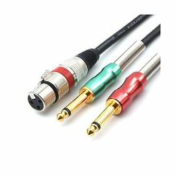 SiYear- 6.6FT XLR Female 3Pin to 6.35mm 1/4 inch Mono Male A