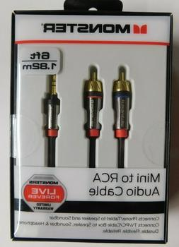 MONSTER  6-FT  MINI TO RCA AUDIO CABLE -PHONE/TABLET TO SPEA