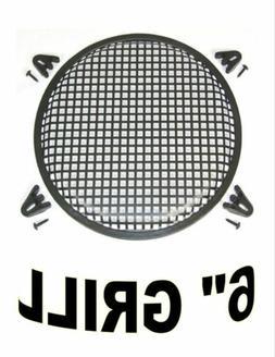 "6"" INCH WAFFLE SPEAKER SUB WOOFER METAL GRILL W/ CLIPS & SCR"