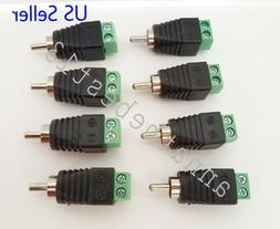 8 bare Speakers Wire Cable to Audio MALE RCA Connectors Adap