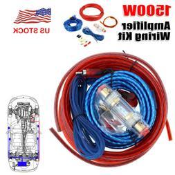 8GA 1500W Car Amplifier Wiring Kit Power Cable Amp Speaker W