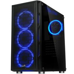 ATX Mid Tower Computer Gaming PC Case, Tempered Glass, Dual