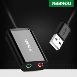 UGREEN Audio Adapter USB External Stereo Sound Card for 3.5m