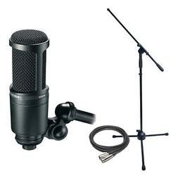 Audio Technica AT2020 Cardioid Condenser Mic w/ Stand, & Cab