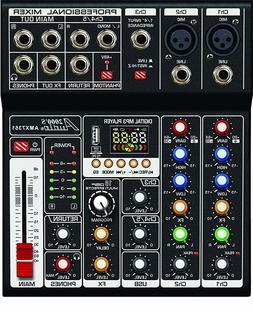Audio2000'S AMX7351 Five-Channel Audio Mixer with USB 5V Pow