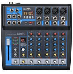 Audio2000s AMX7322 6-Ch.Audio Mixer w/USB Interface,Sound Ef
