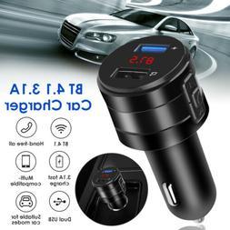 Bluetooth 4.1 FM Transmitter 3.1A Car Charger MP3 Audio AUX
