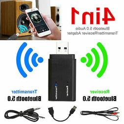 4-in-1 Bluetooth 5.0 Wireless Audio Aux 3.5mm Adapter Transm
