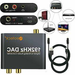 Digital to Analog Audio Converter RCA Adapter Optical Coaxia