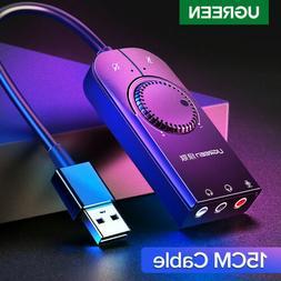 Ugreen USB Sound Card External Audio Adapter 3.5mm Stereo fo