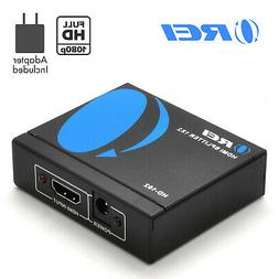 OREI 1x2 2 Port HDMI Audio Video v1.3b 1080p Splitter Adapte