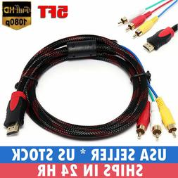 HDMI To 3 RCA AV Audio Video 5 Ft Cable Cord Adapter for TV