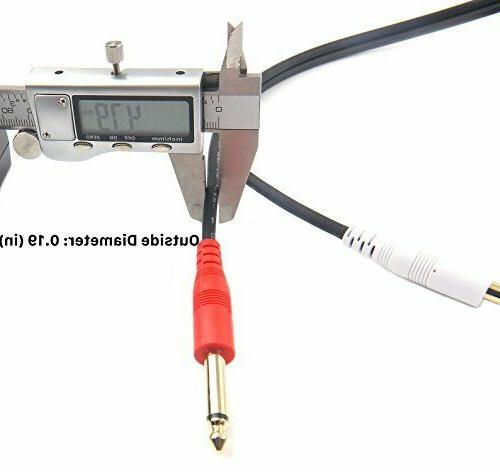Devinal inch Male Stereo to Dual 1/4 Mono Audio 3.5mm TRS