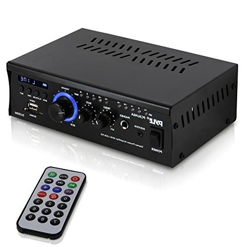 Home Power Amplifier System - 2x120W Channel Theater Receiver Box, w/ USB, RCA, LED, Adapter - Speaker, - Pyle PCAU46A