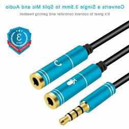 Mic Audio Splitter, Headphones Splitter, Headset Mic Adapter