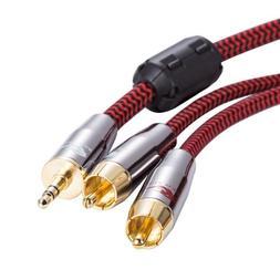 Mini Jack 3.5mm to Dual RCA Audiophile Audio Cable PC AUX Am
