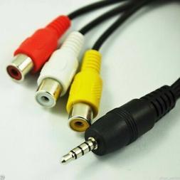 new 20cm Black DC 3.5mm Plug Male to 3 RCA Female Adaptor Au