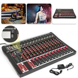 NEW 8/12 Channels Live Studio Stereo Audio Mixer Sound Mixin