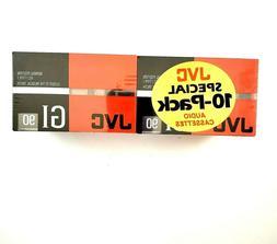 NOS Vintage / Pkg of 10 / JVC GI 90 Blank Audio Cassette New